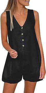 女性のファッションブリーフノースリーブVネックボタンタンクトップストレートショーツジャム