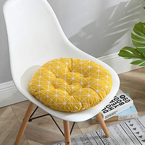 QMZ Lino de algodón grueso cojín suave transpirable 4 piezas cuadrado redondo silla cojín oficina cojín silla de comedor cojín estudiante taburete pedo cojín 40 cm 45 cm