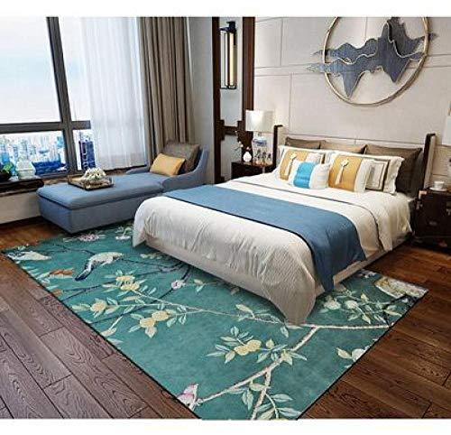 nobrand Home Alfombra Diseño Moderna Alfombra Flor de Estilo campestre y pájaro azul-150 * 200CM,para Sala, comedór Dormitorio alfombras, fácil de Limpiar