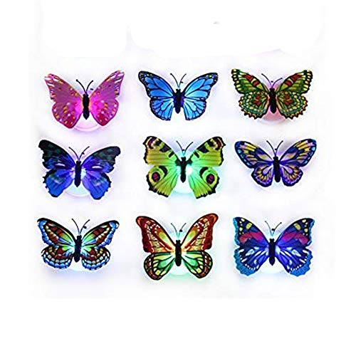 9PCS Butterfly Lights, Flashing Colorful 3D Butterfly Wall Stickers for Girl Bedroom Baby Kids Toy Gift, Creative LED Small Lamp Night Light Stickers Home Decor Room Decoration