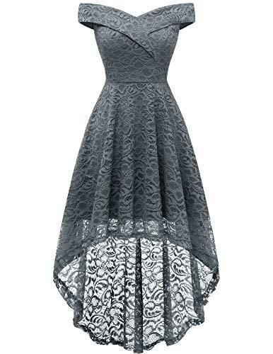 Homrain Off Shoulder Dress Women Wedding Guest Dresses Floral Lace Sweetheart Neck Hi-Lo Dresses Grey L (Apparel)