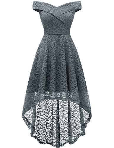Homrain Off Shoulder Dress Women Wedding Guest Dresses Floral Lace Sweetheart Neck Hi-Lo Dresses Grey L