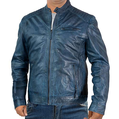 Fashionly Mens Woman Casual Light Blue Leather Jackets