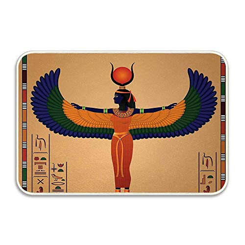 Colorido Mural Retro con Estampado Vintage de Mujer egipcia con alas Felpudo...
