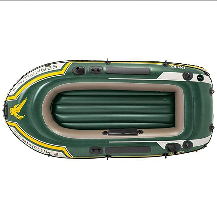 幻滅するクリスチャン言うまでもなく3人用 空気注入式ボート グリーン PVC ゴム製 ボート釣り ボート 厚手 パドルポンプ