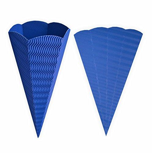 Schultüte blau aus 3D Wellpappe 68cm 1 Stück - Zuckertüte als Rohling zum basteln, bemalen und bekleben