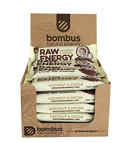 Raw Energy Coconut & Cocoa Healthy Snack 50g [20 Bars] – Natural Fruit Energy Bars- with no Added Sugar Gluten Free and Vegan Snack