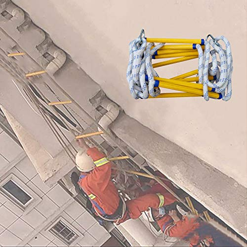 Escalera Cuerda Emergencia, Robusto Capacidad De Carga hasta 420kg con Ganchos Escaleras De Cuerda De Escape Adultos Niños ZHANGXU (Size : 20m)