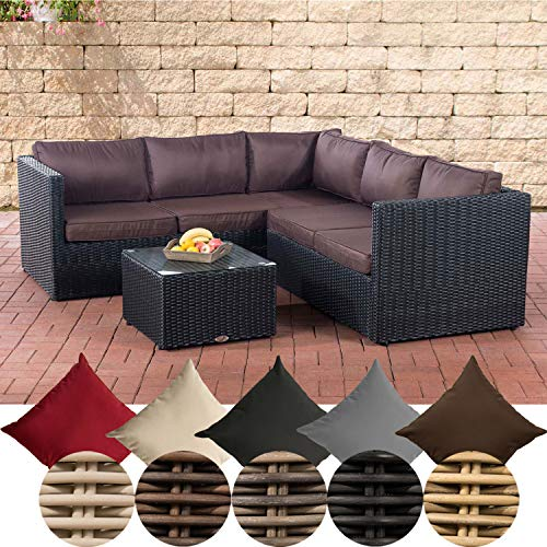 CLP Genero Poly Rattan Lounge Set 5 mm Garden Set with 5 Seats Complete Set: 3 Seater Sofa + 2 Seater Sofa + Table, Colour: Black, Upholstery Colour: Terracotta Brown