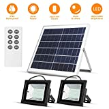 Solar Lights Outdoor Dusk to Dawn Flood Lights Solar Lights Remote 15W 13.8' Solar Panels 800LM Dual 98 LED...