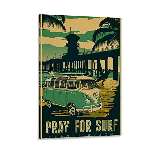 KFMD Póster vintage retro vintage de viaje Sunset Beach Pray for Surf Canvas Art Poster and Wall Art Impresión moderna para dormitorio familiar 40 x 60 cm