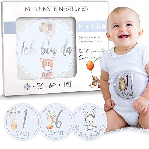 Baby Meilenstein-Sticker 24 selbstklebende Aufkleber schöne Geschenkidee zur Geburt, Schwangerschaft, Taufe oder Babyparty Milestone Ø 10cm | Meilensteinsticker Geschenkset inkl. Geschenkbox für Junge