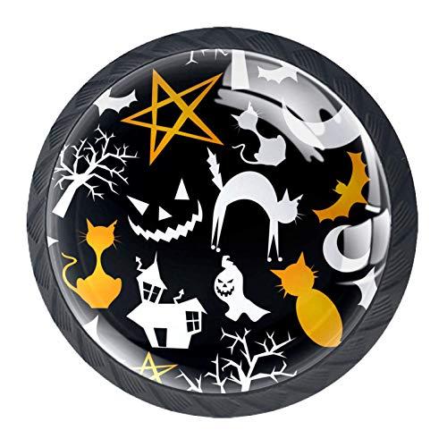 (4 piezas) pomos de cajón para cajón con mango de cristal para gabinete con tornillos para gabinete, hogar, oficina, armario, feliz, Halloween, murciélago, gato
