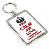 KEEP CALM AND LOVE YORKSHIRE TERRIER PUPPIES KEYRING LLAVERO