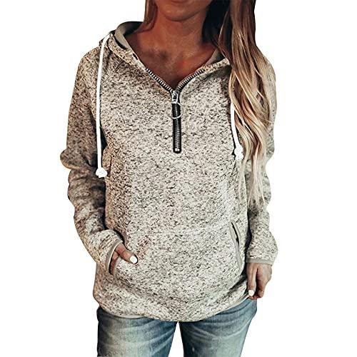 Boshivw Sudadera con capucha para mujer, con cierre de cremallera, a cuadros, estilo vintage, para otoo e invierno, chaqueta de entretiempo, gris, S
