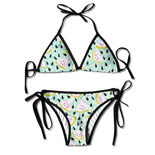 Egoa Women's Fruit Watermelon with Seeds Tiled Picture Sexy Bikini Swimsuit Bathing Suits