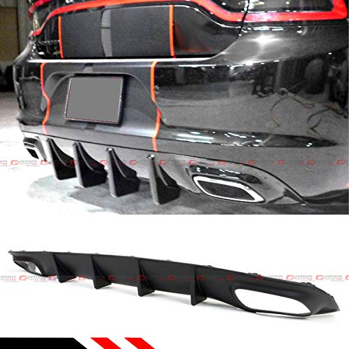 IKON MOTORSPORTS Rear Diffuser Compatible With 2015-2018 Dodge Charger RT Shark Fin Style CF Look PP Lower Valance Bumper Lip