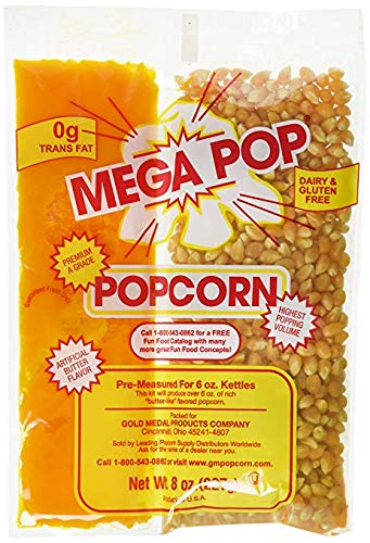Best Bargain Gold Medal Mega Pop Butter Corn/Oil/Salt Kits 8 oz. Pouch ( Pack of 6)