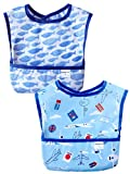 Sincere Baby Waterproof Starter Bibs Infant Washable Stain and Odor Resistant Easy Clean with Pocket(6M-36M) Pack of 2(Fish&Plain/M)