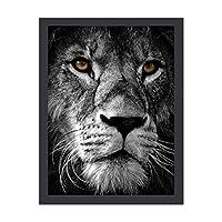 INOV 白黒 ライオン 絵画 インテリア フレーム装飾画 アートポスター 額入り(30cm*40cm) 壁画 アートパネル 油絵 壁飾り 壁掛け 木枠付き