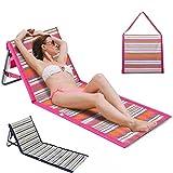 Portable Beach Reclining Lounger Folding Backrest Beach Recliner Chair Lightweight Waterproof Outdoor Camping Low Reclining Beach Tanning Mat for Beach Travel Summer Vacation (Blue)
