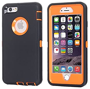 AICase iPhone 8 Plus/7 Plus Case [Heavy Duty] [Full Body] Tough 3 in 1 Rugged Shockproof Water-Resistance Cover for Apple iPhone 8 Plus/7 Plus  Orange/Black