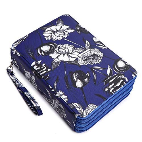 YOUNGCOL 200 Slots Colored Pencil Case Large Capacity Pencil Organizer Holder with Compartments (Peonies and Tulips)