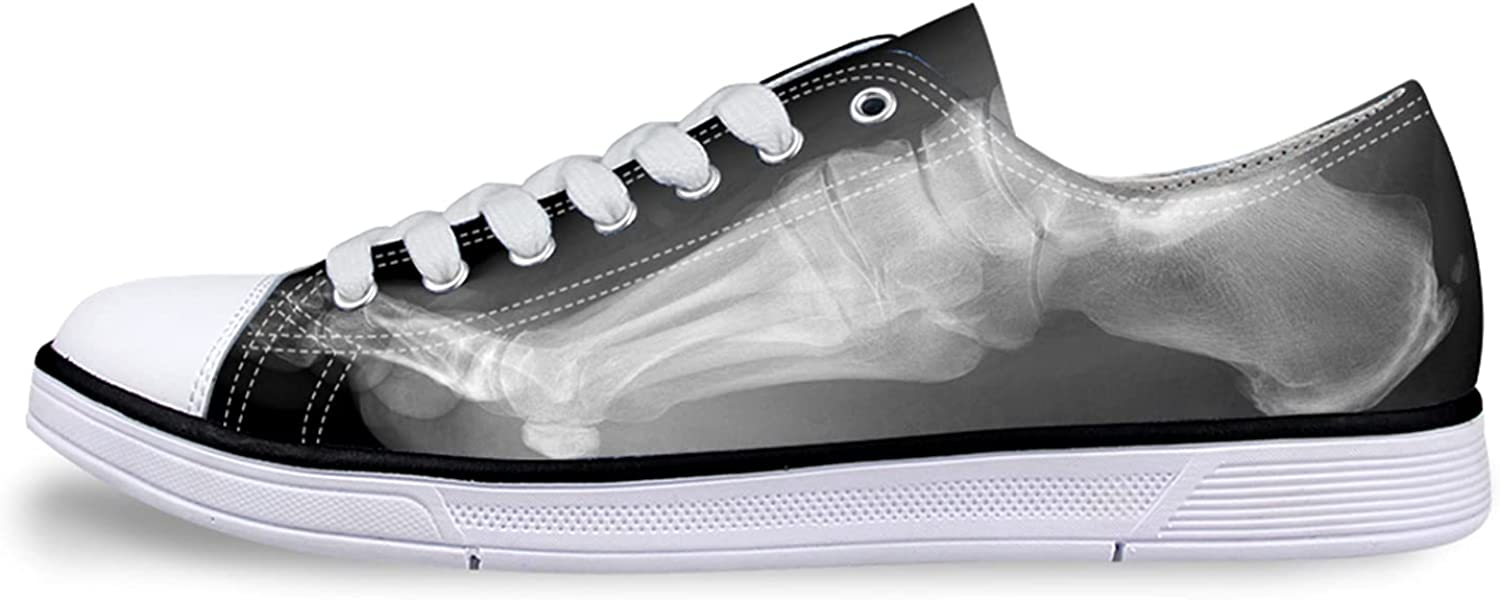 Owaheson Funny Foot Side X-ray Unisex Adult Canvas Shoes Casual Sneakers Low Cut Lace up Fashion Comfortable for Walking