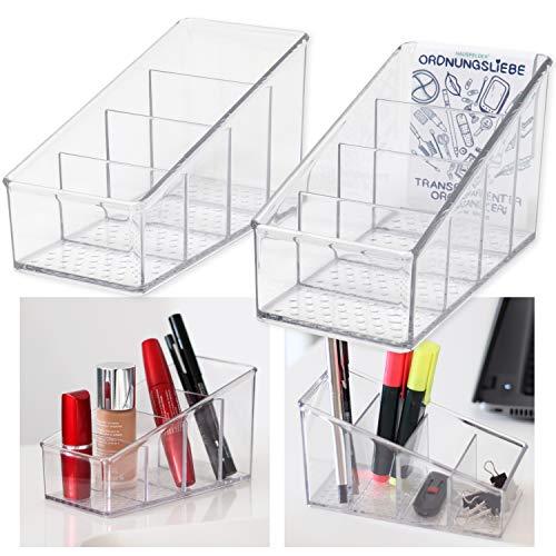 Hausfelder ORDNUNGSLIEBE Kosmetik Schreibtisch Oragnizer - 2er Set - transparente Bad Büro Aufbewahrung für Schminke Stifte Fernbedienungen