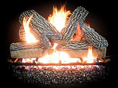 "Dreffco 30"" Blazing Oak Premium Realistic Vented Gas Logs Can Be Used with NG or LP! Replacement Vented Gas Logs (Logs Only)"