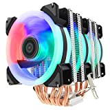 ALSEYE CPU Cooler, RGB Fans 6 Heatpipes 4 Pin 90mm PC Air Cooler Case Fan Radiator for Intel & AMD Motherboard and Easy Installation