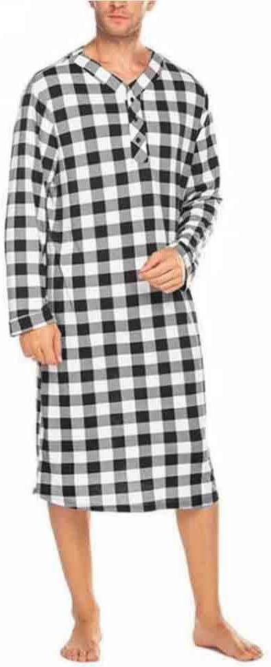 New Men Plaid Sleep Robes Sleepwear Men Fashion Soft Loose Long Sleeve V Neck Button Nightgowns Casual Long Pajamas,Black,XXXL