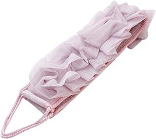 Double Side Strap Soft Mesh Bath Sponge Towel for Body Back Exfoliator Scrubber, Purple