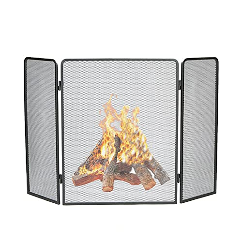 PTY Salvachispas Chimenea Protector contra incendios de 3 paneles, pantalla de chimenea...