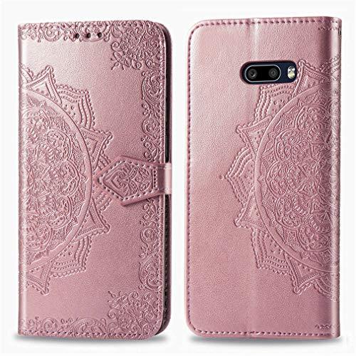 LMFULM® Hülle für LG G8X ThinQ / V50S ThinQ (6,4 Zoll) PU Leder Magnet Brieftasche Lederhülle Mandala Prägung Design Stent-Funktion Ledertasche Flip Cover Rosegold