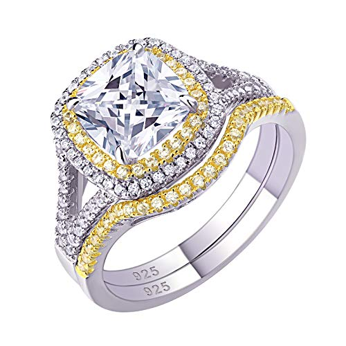 Newshe Wedding Rings for Women Engagement Ring Set Yellow Gold Cubic Zirconia Cushion 3Ct Size 6