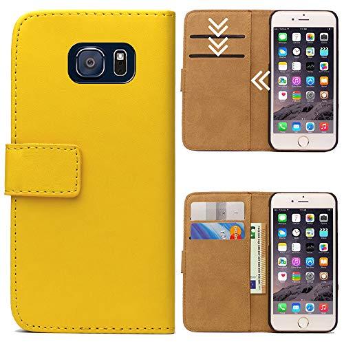 Roar Handytasche für Samsung Galaxy S6 Edge, Flipcase Tasche Schutzhülle Handyhülle für Samsung Galaxy S6 Edge Bookcase Wallet mit Magnet, Gelb