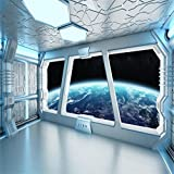 AOFOTO 10x10ft Spaceship Interior With Window View On Planet Earth Backdrop Universe Exploration Science Fiction Spacecraft Photography Background Space Station Photo Shoot Studio Props Vinyl Wallpape