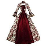 │IMMOA│18th Century Georgian Gothic Victorian Period Dress Masquerade Ball Gown Reenactment Theatre Costume for Women(Red,M)