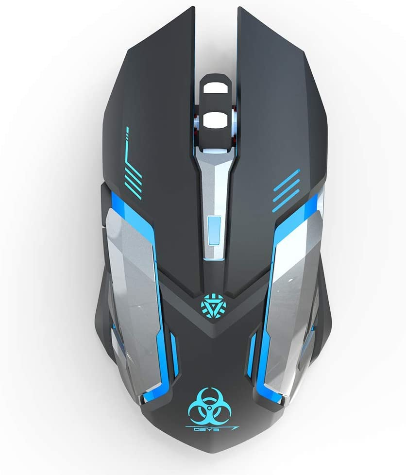 Wireless Gaming Mice Silent Click LED Optical Computer Mouse with USB Receiver 3 Adjustable DPI Level 2400/1600/1000 Auto Sleep Suitable