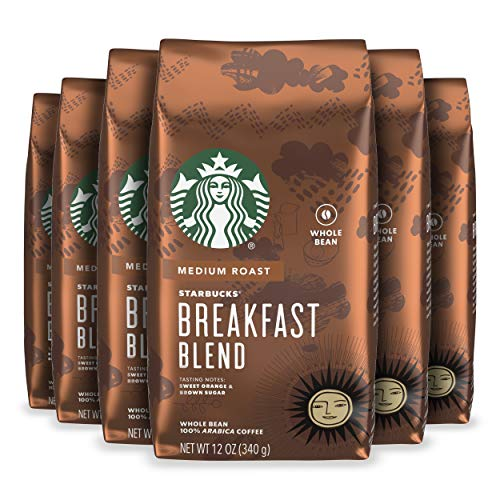Starbucks Medium Roast Whole Bean Coffee — Breakfast Blend — 100% Arabica — 6 bags 12 oz each