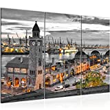 Bilder Set Hamburg Wandbilder Wohnzimmer XXL 120 x 80 cm