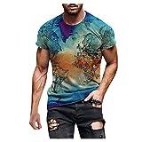 Spritumn-Home Camisa de Manga Corta Estampada en 3D Hombres Tops Casual Blusa de Chaleco Ajustada Camiseta Elegante Medias Deportivas Blusa de Fitness Cuello Redondo Barato