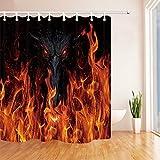 JYEJYRTEJ Drache & Flamme Dekorativer Duschvorhang kann gewaschen & getrocknet Werden,12Haken,180X180cm,geeignet für Badezimmer