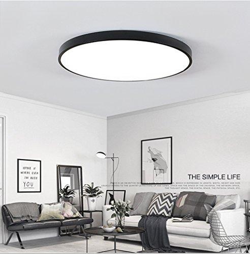 Ultra-dünne LED Deckenleuchte Energiesparende Deckenleuchten Runde Lampe für Wohnzimmer 15W Schwarz Kaltes Weiß