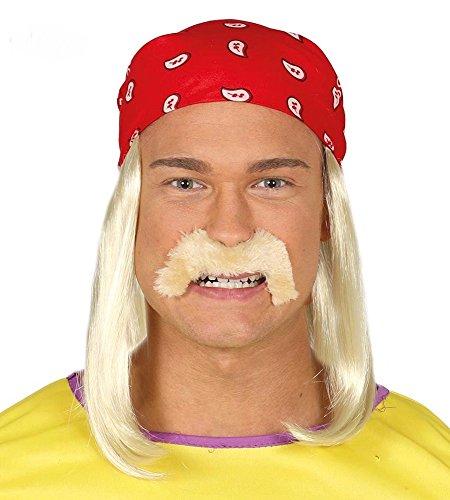 NET TOYS Rocker Kopftuch Hulk Hogan Perücke mit Bart rotes Bandana mit Langhaarperücke Wrestler Oberlippenbart