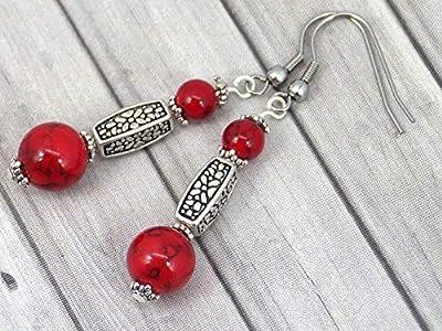 Boucles d'oreille Thurcolas en Turquoise rouge de la gamme Medicis plaqué argent