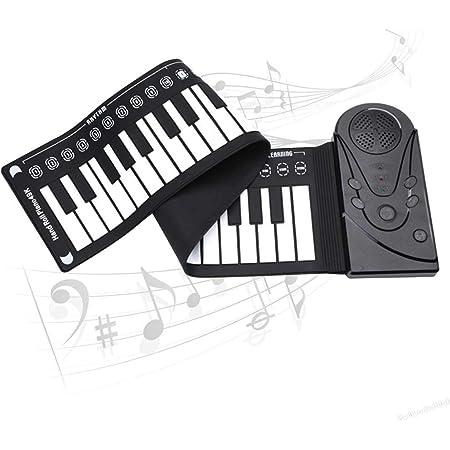 Anyutai Piano Electrico,Teclado Piano Enrollable,Piano Portatil Enrollable,49 Teclas con Bocina,Enrollada,Plegable PortáTil,Seguro y Duradero,con ...