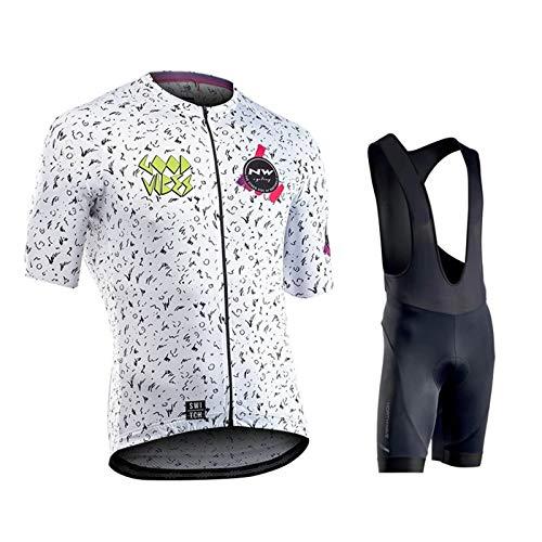 OJKYK Conjunto Ropa Ciclismo para Hombre Maillot Ciclista Mangas Cortas y Culotte Bicicleta con 9D Gel Pad Camiseta MTB para Verano
