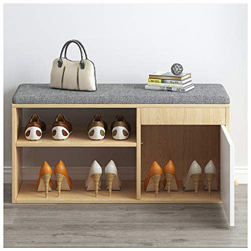 Shoe Changing Stool At Home Sofa Stool Shoe Cabinet Entrance Multifunctional Storage Rack Fabric Cushion Human Body Design Comfortable Changing Shoes High Heels Flat Shoes Living(Color:80cm log color)